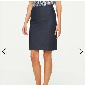 Polished denim pencil skirt
